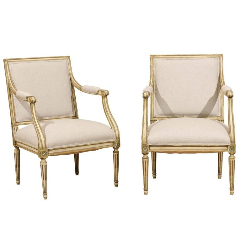 Pair of French, Louis XVI Style Armchairs with Rosettes and Tapered Legs 1