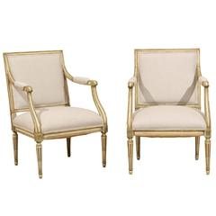 Pair of French, Louis XVI Style Armchairs with Rosettes and Tapered Legs