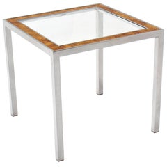 Chrome Burl Wood Glass Square Side Table