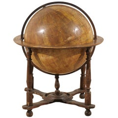 A Large-Sized Italian Heavily Foxed Velum Covered Globe on Wood Stand, 19th C.