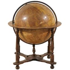 An Italian 19th Century Heavily Foxed Globe on Wood Stand, Very Large Size