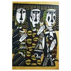 "Sadao Watanabe Color Stencil Print ""Three Fishermen 'The Disciples'"""