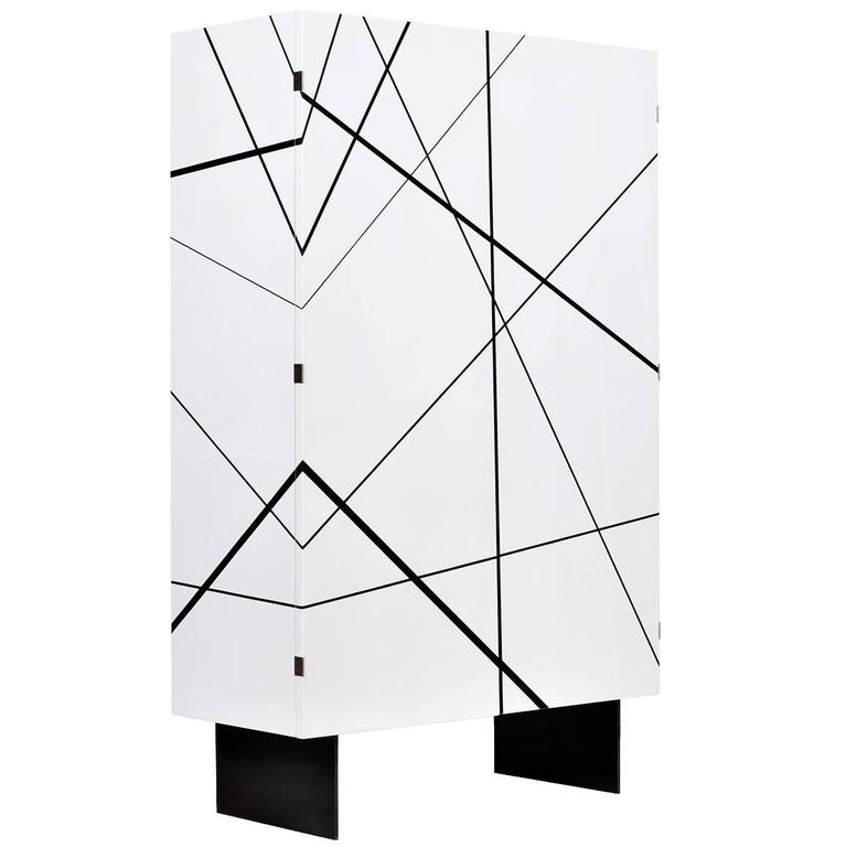 Ray Cabinet in Gloss White Lacquer and Ebony Inlay by Newell Design Studio