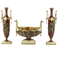 French Gilt & Patinated Bronze Garniture with Applied Foliate/Floral Decoration