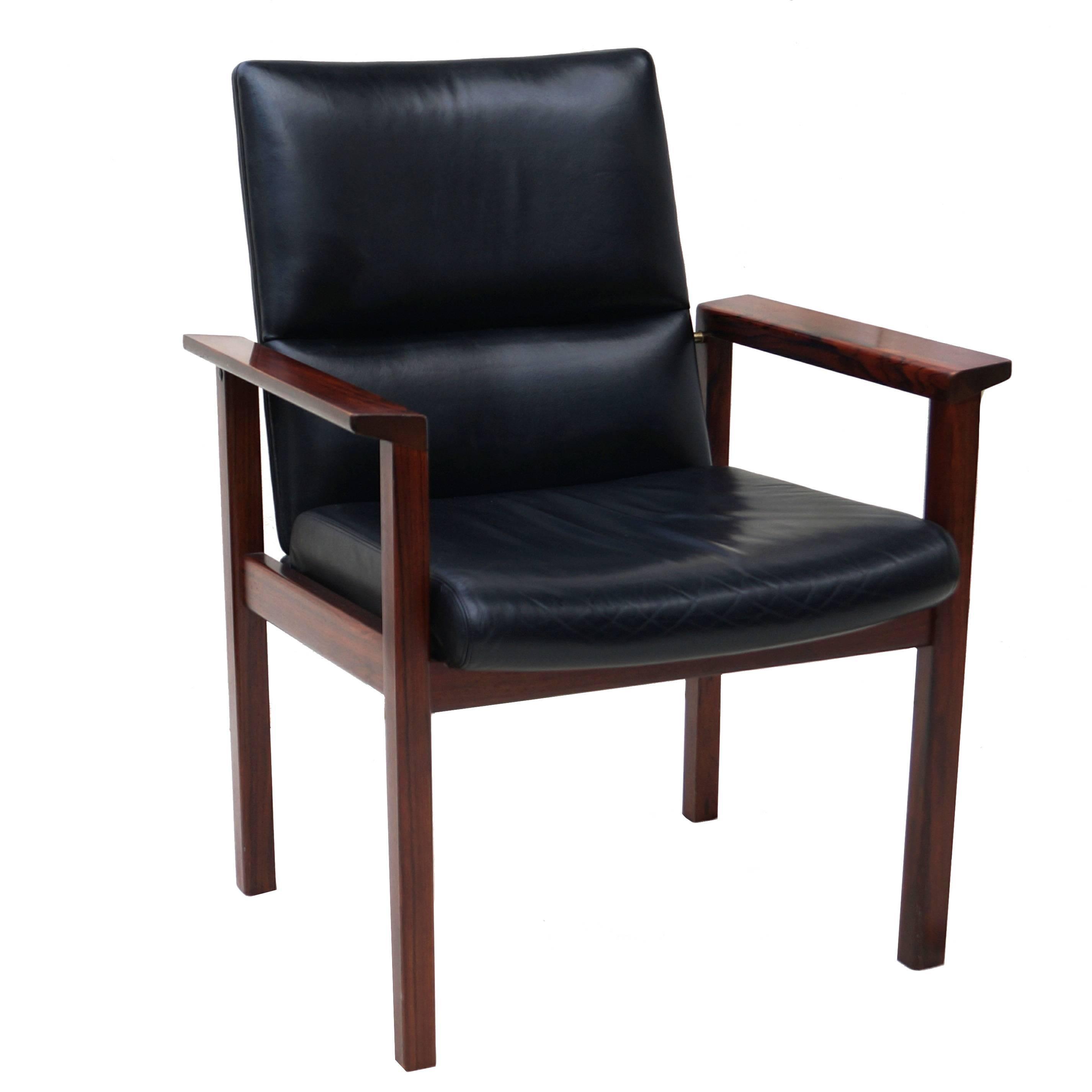 Mid-Century Danish Modern Rosewood Desk Office Side Armchair
