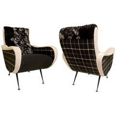 Pairs of Marco Zanusso 1950 Black and White Italian Armchairs