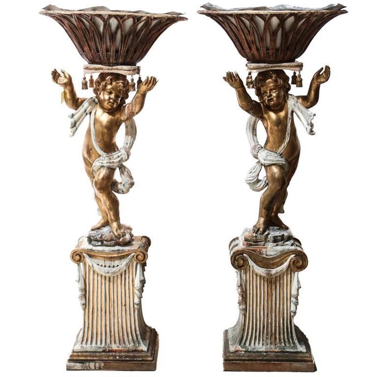 18th Century Italian Carved Wood Figural Putti Pedestal Planters