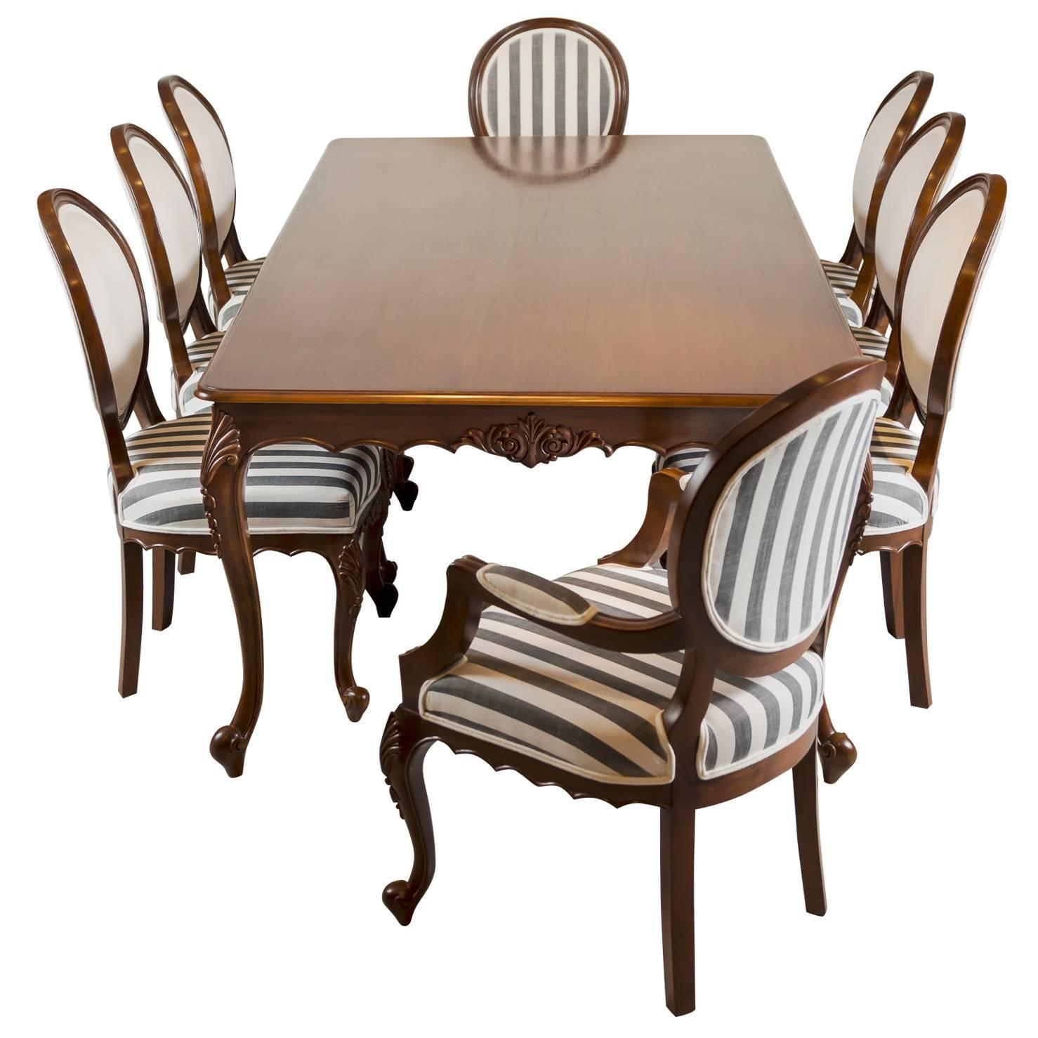 Antique Anglo Indian Teak Wood Dining Table With Eight Chairs For Sale At  1stdibs
