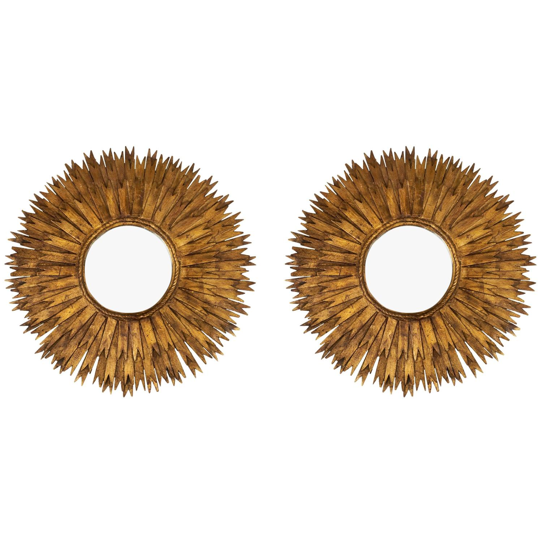 Vintage pair of spanish sunburst mirrors for sale at 1stdibs for Sunburst mirror