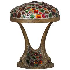 Art Nouveau Austrian Jeweled Chunk Glass Table Lamp with Dolphin Motif