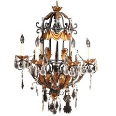 Large Vintage Foliate and Crystal Six-Light Chandelier
