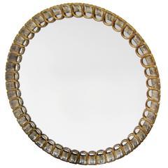 Italian Carved Giltwood Circular Mirror