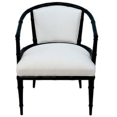 Vintage Hollywood Regency Bamboo Lacquered Armchair