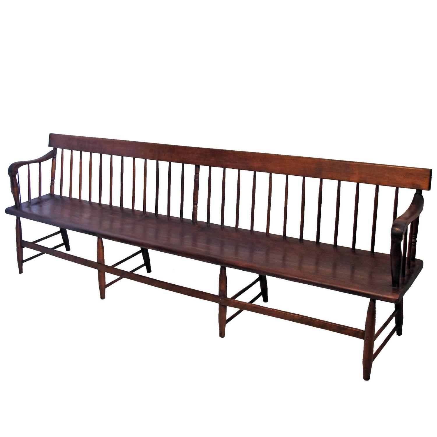 Extraordinary Pine And Mixed Wood Spindle Back Bench American 19th Century For Sale At 1stdibs