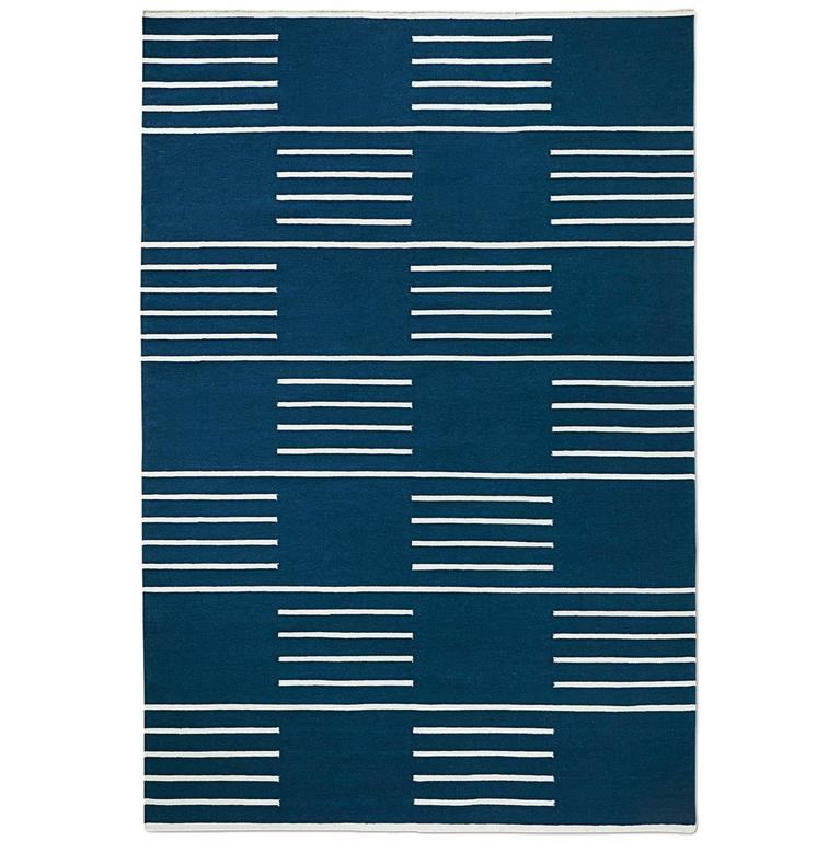 Modern Dhurrie Kilim Rug In Swedish Design Classic Blue