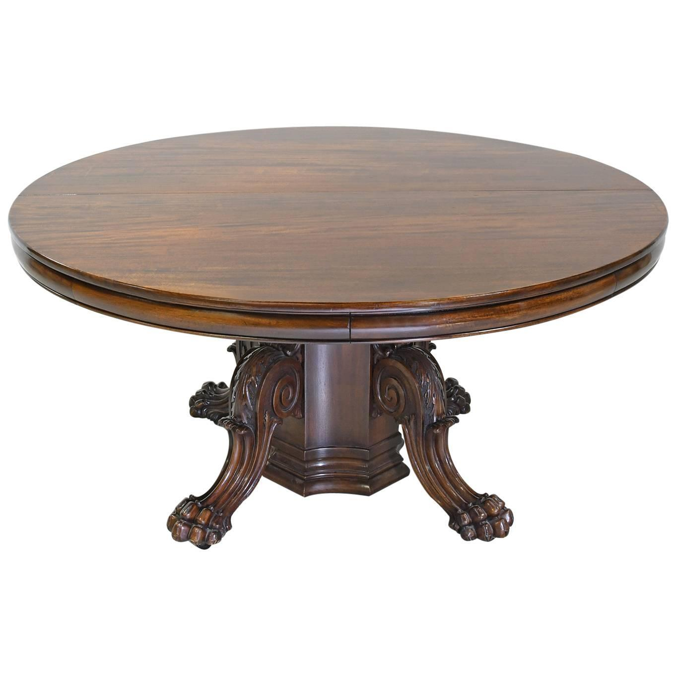 Round american empire center pedestal dining table with for Round pedestal table with leaf