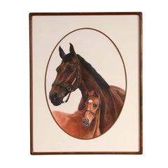 Pastel of Two Horses by Jocelyn Sandor
