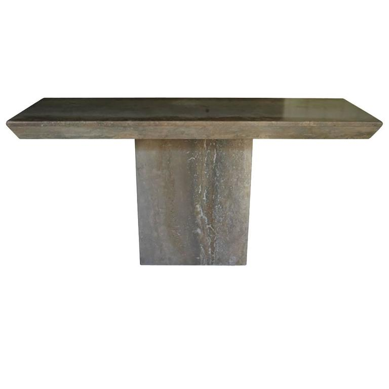 Monolithic Travertine Console Table 1