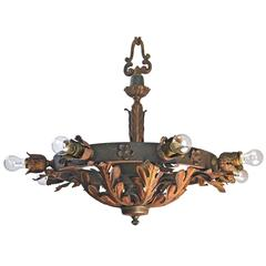 Early American Iron and Brass Theatre Fixture