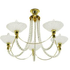 Murano Rope Glass and Brass Five-Arm Chandelier in the Manner of Barovier