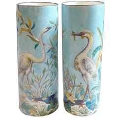 French Japonisme Longwy Pair of Faience Vases, circa 1885
