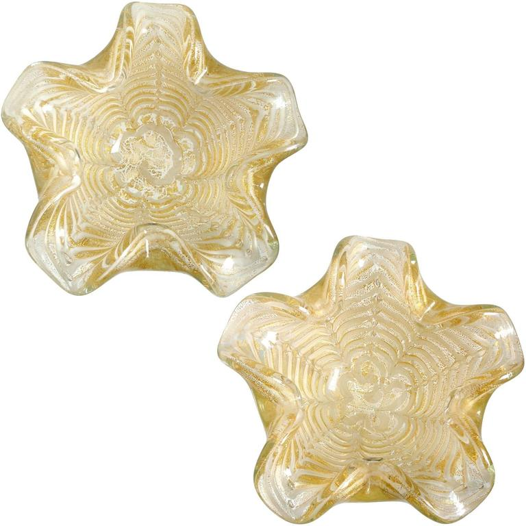 Ercole Barovier Murano White Gold Flecks Italian Art Glass Flower Bowls