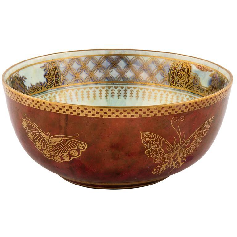 art deco wedgwood porcelain fairyland lustre butterfly bowl at 1stdibs. Black Bedroom Furniture Sets. Home Design Ideas