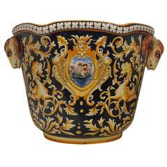 Antique European Hand-Painted Ceramic Bowl
