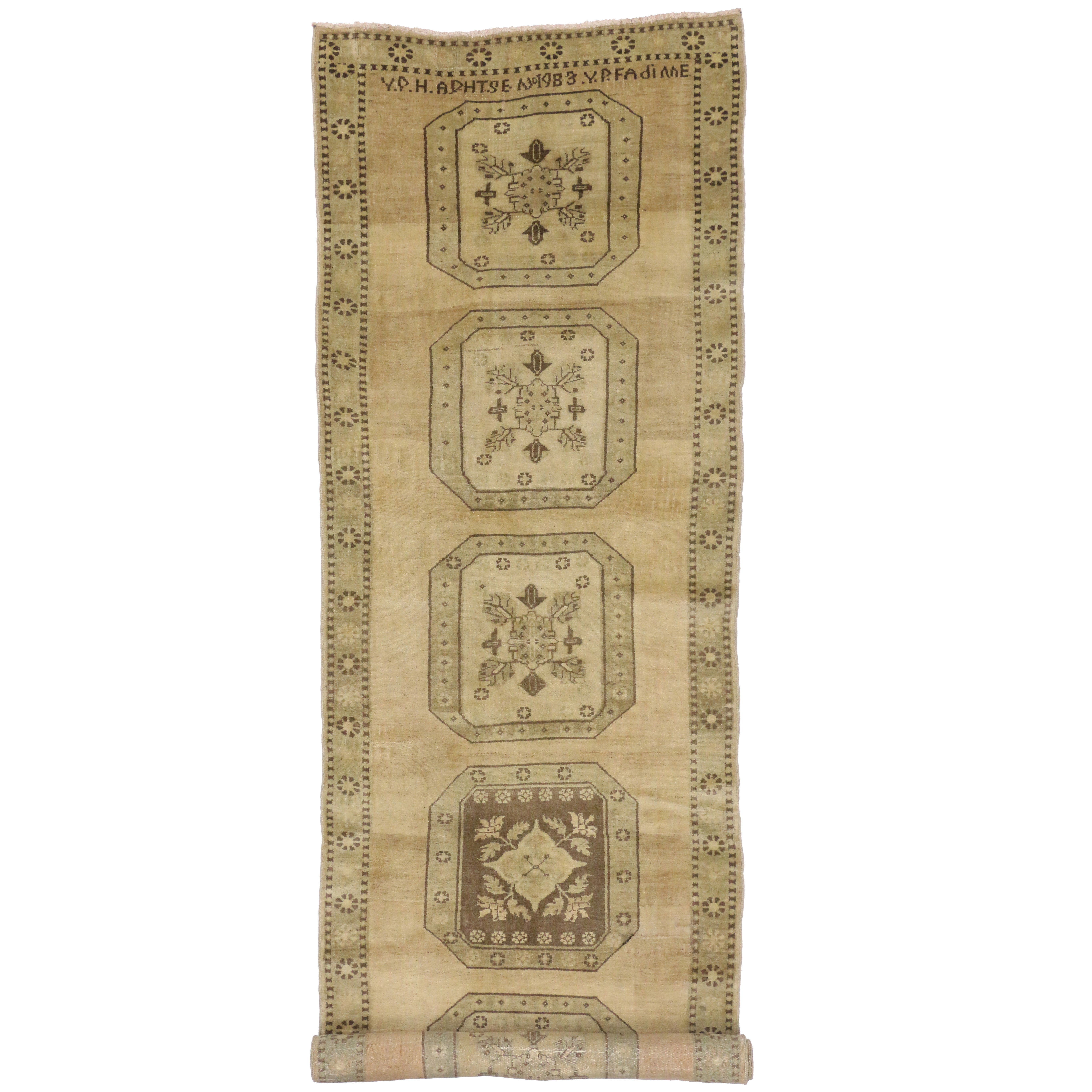 Mission Style Vintage Turkish Oushak Runner, Extra-Long Hallway Runner