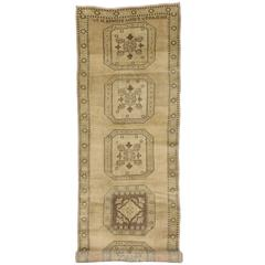 Vintage Turkish Oushak Carpet Runner with Muted Colors and Modern Style