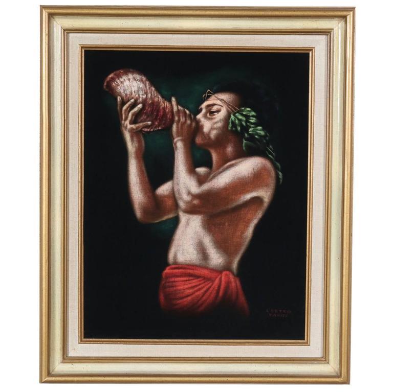 Leetag Tahiti Black Velvet Painting Original 1950s At