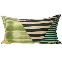 Vintage Pierre Cardin Green Geometric Silk Scarf with Irish Linen Cushion Pillow