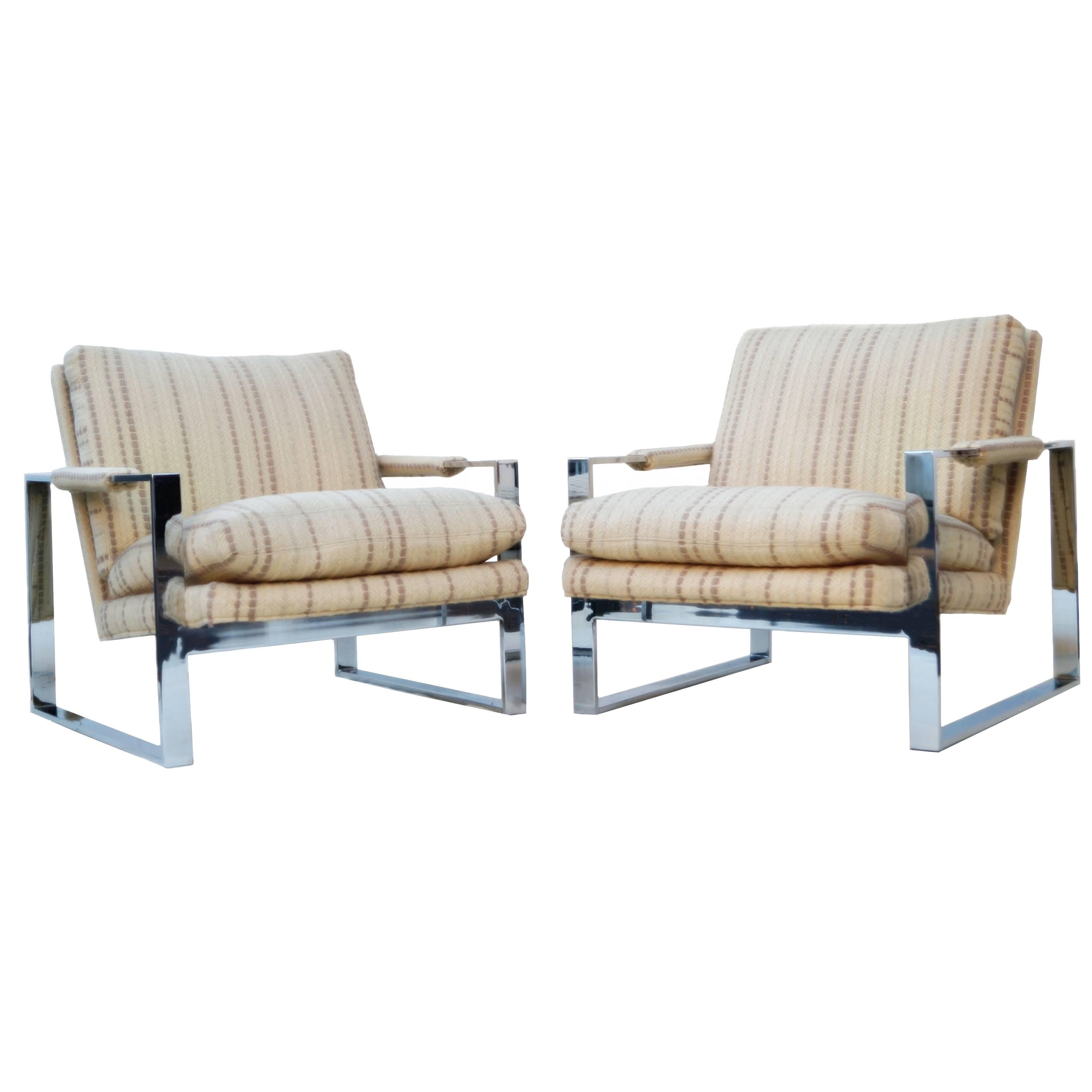 Pair of Milo Baughman Thayer Coggin Flat Bar Lounge Chairs