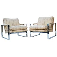 Pair of Milo Baughman Thayer Coggin Flat Bar Lounge Chairs