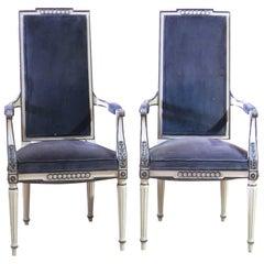 Pair of Regency Style Cream Painted Armchairs
