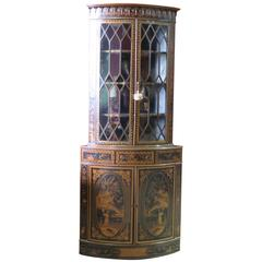 19th c. Edwardian Style Chinoiserie Decorated Corner Cabinet
