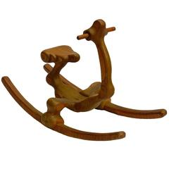 1970s Carved Sculpture Rocking Horse by Denis Cospen Mid-Century Sculptor