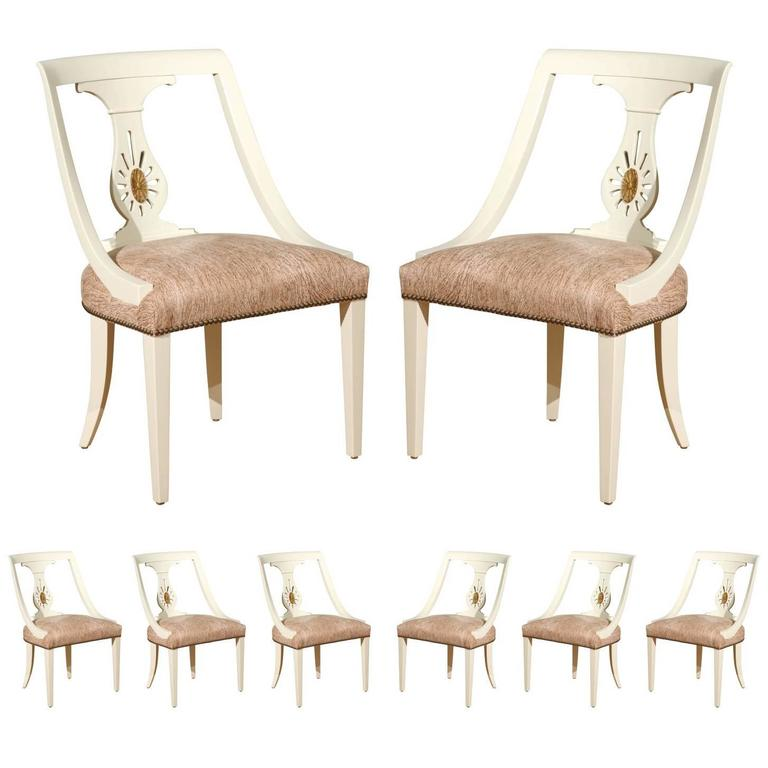 Rare Set of Eight Dining Chairs by Renzo Rutili