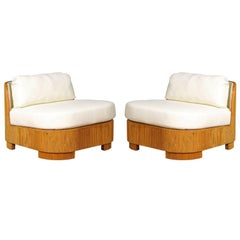 Exemplary Pair of Restored Large-Scale Bamboo Slipper Loungers, circa 1975