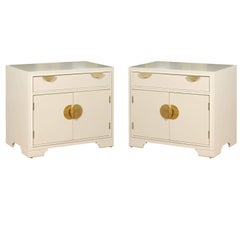 Elegant Restored Pair of Modern End Tables in Cream Lacquer