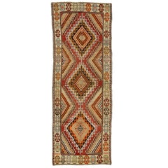 Rustic Style Vintage Oushak Carpet Runner with Modern Tribal Design