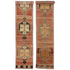 Pair of Vintage Turkish Oushak Carpet Runners with Mid-Century Modern Style