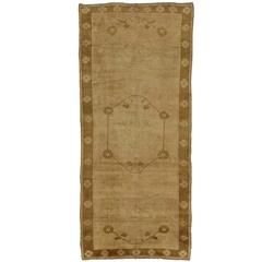Vintage Turkish Oushak Runner with Warm, Neutral Colors, Wide Hallway Runner