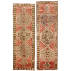 Pair of Vintage Turkish Oushak Hallway Runners with Mid-Century Modern Style