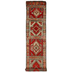 Vintage Turkish Oushak Carpet Runner with Modern Style and Vibrant Colors