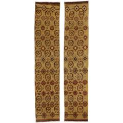 Pair of Vintage Turkish Oushak Carpet Runners with Traditional Style