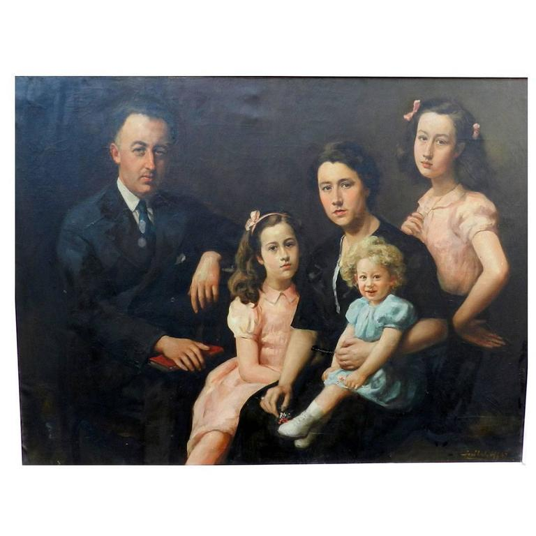Jose Wolff Family Portrait Large Oil On Canvas Circa