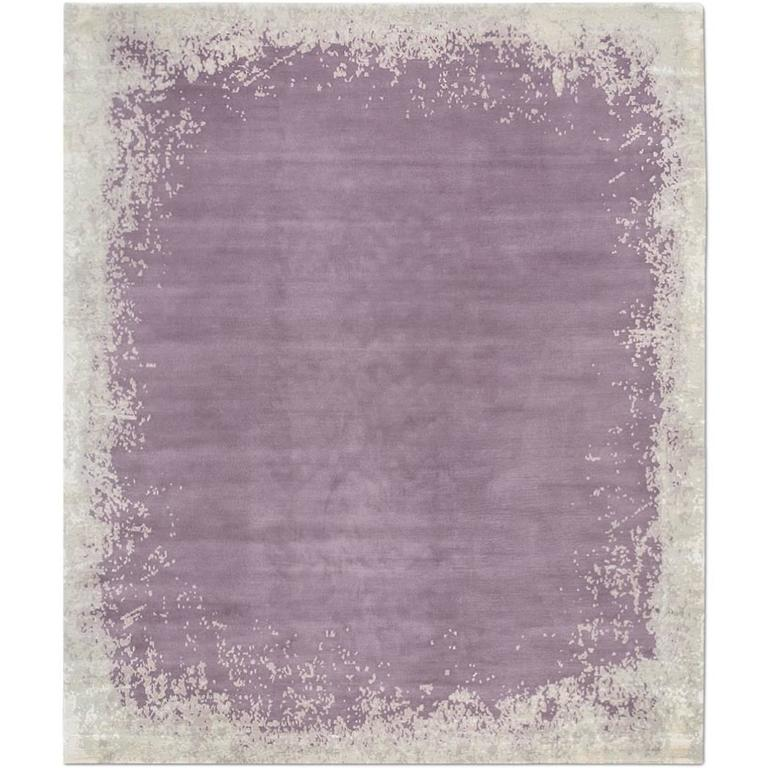 Modern Border Dark Mauve Hand Knotted Tibetan Abstract Rug Wool Silk For