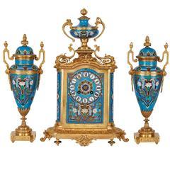 Unusual Ormolu and Porcelain Clock Set