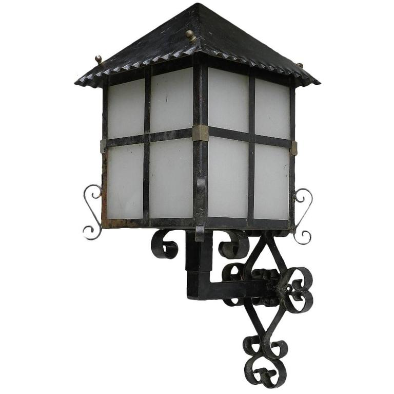 French Lantern Wall Light Outdoor Sconce Wrought Iron And Glass Exterior Porch For Sale At 1stdibs